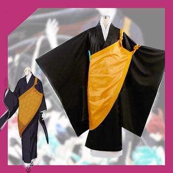 Anime! Land of the Lustrous Master Kongo Black Kimono Uniform Cosplay Costume For Men kimono+cloak+gaza Free Shipping