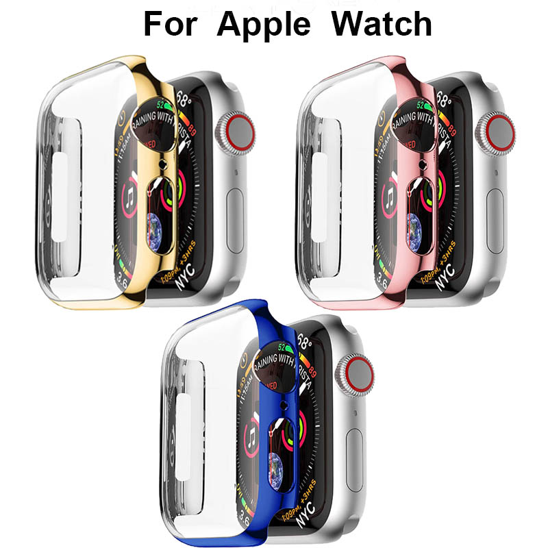 PC Screen Protective Case Iwatch Series 4 For Apple Watch Band 40mm 44mm Shatter-Resistant Shell Frame Protector Accessories