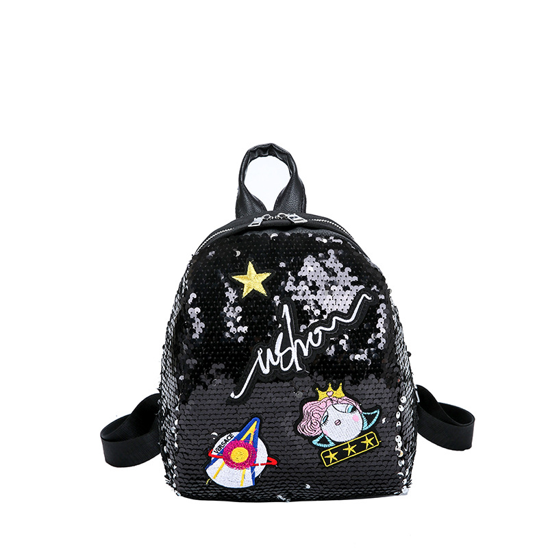 Meloke Mini Sequined Backpack With Cute Embroidery Backpacks For Women Girls Travelbag Bling Shiny Backpack School Backpack M163 #2