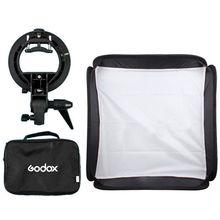"""Godox Estúdio de Fotografia Softbox Flash de Luz Ajustável 40×40 cm/15 """"* 15"""" + S tipo Suporte de Montagem Fotografia Kit de Iluminação Suave Caixa"""