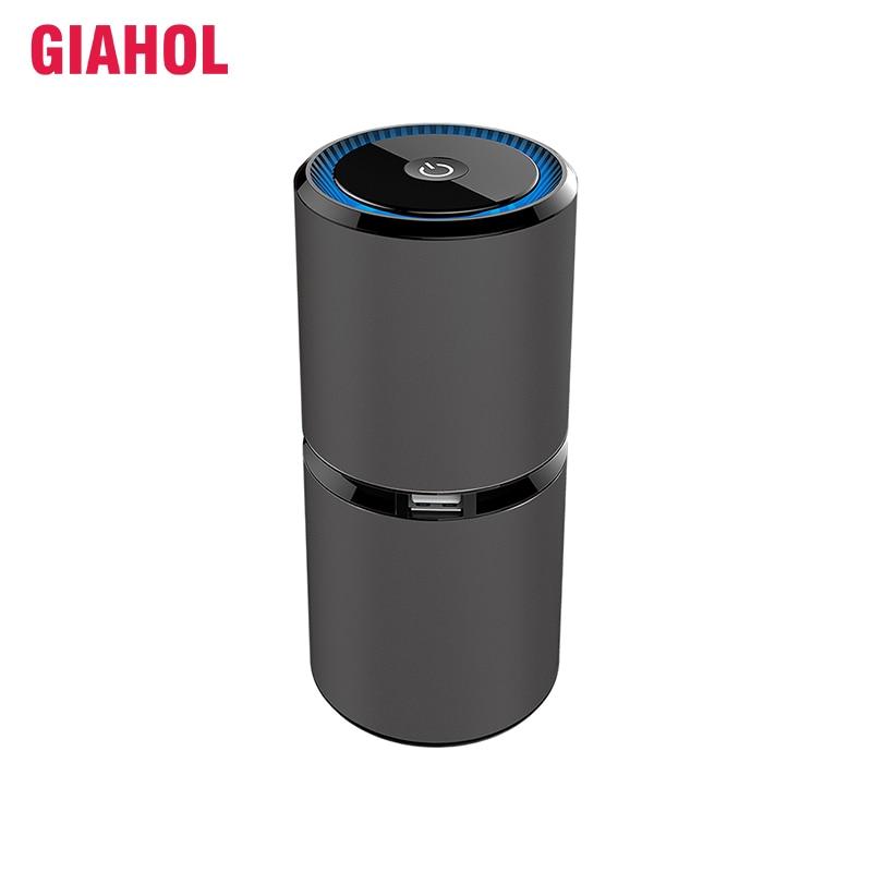 GIAHOL Mini Car Air Purifier Portable Negative Ion Purifiers With Dual USB Air Purifier Anion Air Freshener For Car Home Office