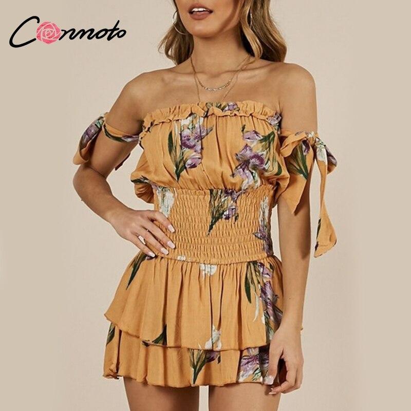Conmoto Sexy Boho Print Romper Women 2019 New Summer Off Shoulder Lace up Short   Jumpsuit   Slim High Waist Sleeveless Playsuit