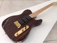 Good quality Customized TL electric guitar zebra one piece wood body gold hardware 3pcs humbuckers