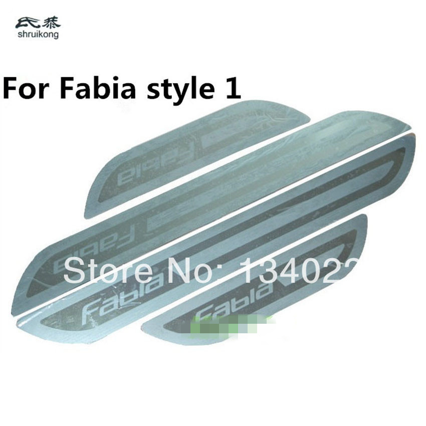 Image 2 - ultra thin Stainless Steel Door Sill Scuff Plate for Skoda Fabia Octavia Superb Rapid  Free Shipping-in Car Stickers from Automobiles & Motorcycles