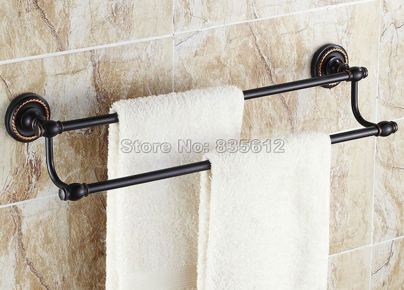 Bathroom Accessory Wall Mount Black Oil Rubbed Bronze Double Towel Rail Bar Wba211 allen roth brinkley handsome oil rubbed bronze metal toothbrush holder