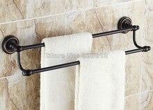 Аксессуары Для ванной Настенное Крепление Черный Масло Втирают Бронзовый Двойной Полотенцедержатель Бар Wba211