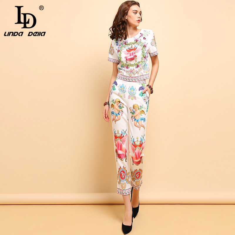 LD LINDA DELLA Fashion Spring Summer Suits Women 39 s Casual Short Sleeve Beading T shirt and Elegant Angel Print Pants 2Pieces Set in Women 39 s Sets from Women 39 s Clothing