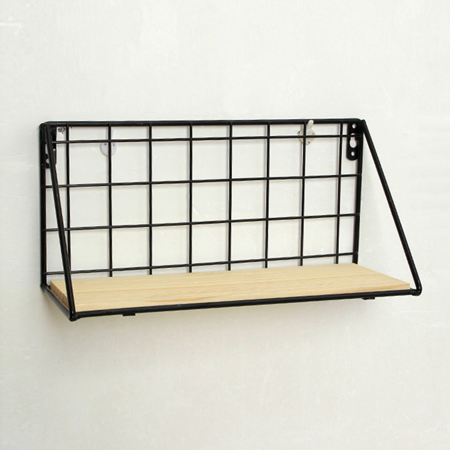 Wooden Iron Bathroom Shelves Storage Holders Home Storage Shelf Wall ...