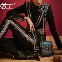 Beateen Black Blazer Pant Suits 2 Pieces Set Rivet Studded Zipper Fashion Women Formal OL Party