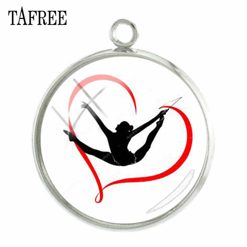 TAFREE Artistic Gymnastics Pendants Charms 20mm Rhythmic Gymnasts Silhouette Art Picture Glass Dome Jewelry Accessories GY226