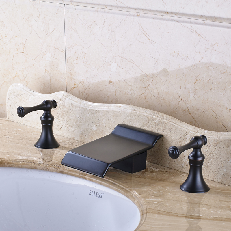 Deck Mounted Traditional Bathroom Sink Faucet Widespread 3pcs Basin ...