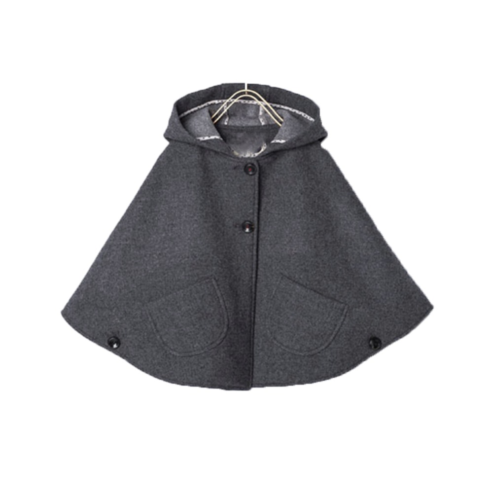 Girls Wool Blend Hoodie Capes Poncho Carseat Jacket Gray Color Batwing Sleeve Pockets Spring Fall Fashion