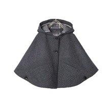 Обувь Для Девочек полушерстяные плащи с капюшоном пончо автомобиль сидеть куртка Серый цвет рукав «летучая мышь» Карманы весна осень модные куртк