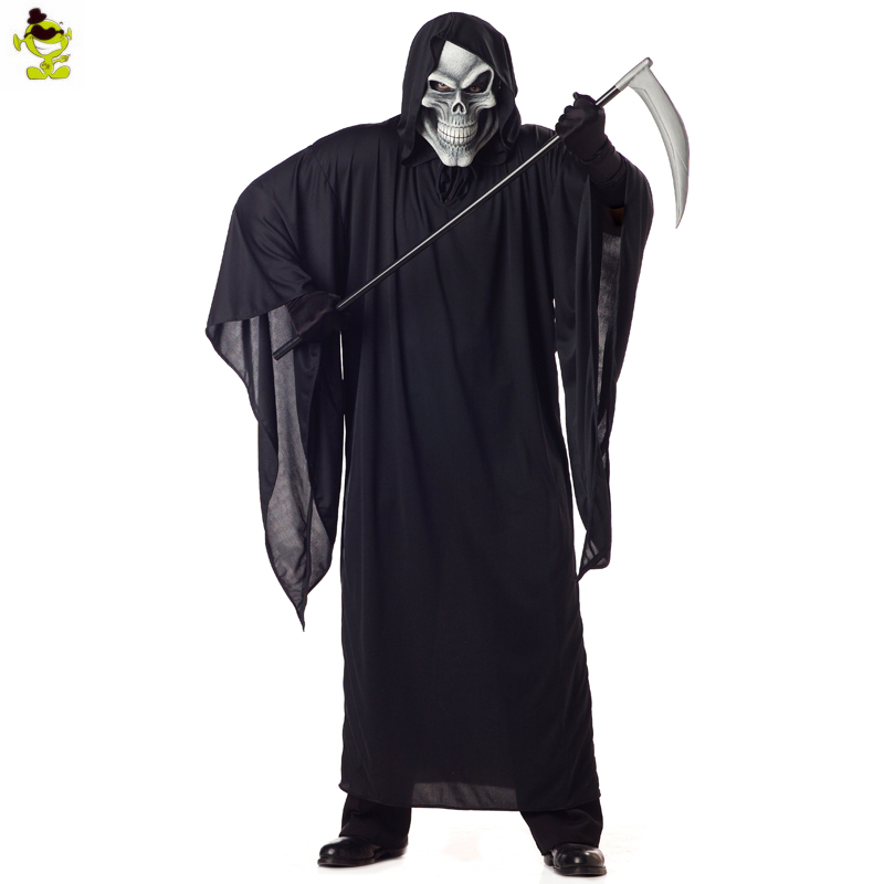 Man's Halloween Grim Reaper Costume Cosplay Adult Man Horror Black Killer Halloween Cosplay Outfit halloween cosplay skeleton style costume black