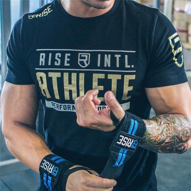 Мужские летние спортивные залы тренировка фитнес брендовая футболка Бодибилдинг тонкие рубашки с принтом О-образным вырезом с короткими рукавами хлопковые футболки одежда