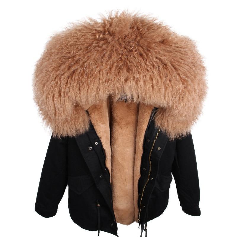 2018 nouveau femmes hiver Parka réel mongolie mouton fourrure Parkas réel fourrure manteau veste épais chaud détachable survêtement Streetwear