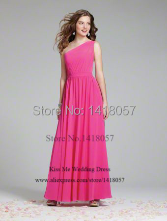 2015 One Shoulder Long Bridesmaid Dresses Fuschia Wedding Guest ...