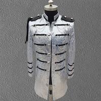 Czarny Cekiny blazer jacket moda prom suknię ślubną dla tancerz klub nocny piosenkarka wydajności pokaż super star groom płaszcz