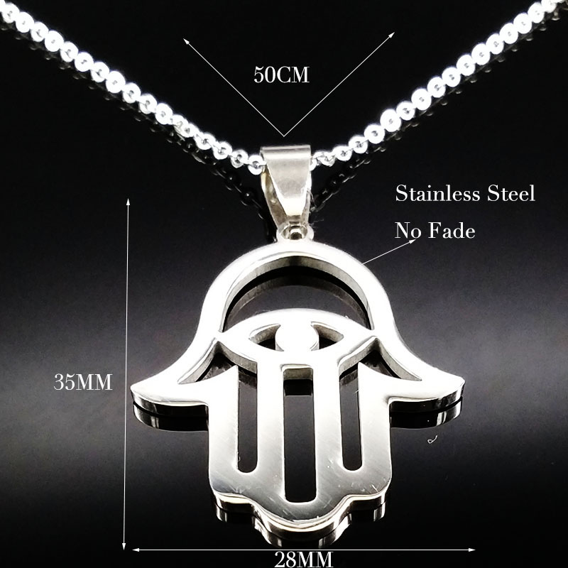 10pcs Wholesale Stainless Steel Hamsa Hand Necklaces Women Silver Plated Hamsa Necklace Chocker acero inoxidable collares NW2