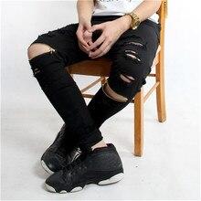 2017 европа high street тонкий отверстие молния мужчины hip hop джинсы Уничтожено Проблемные Колено Ноги Молнии Джинсы Брюки Тощий мужчины