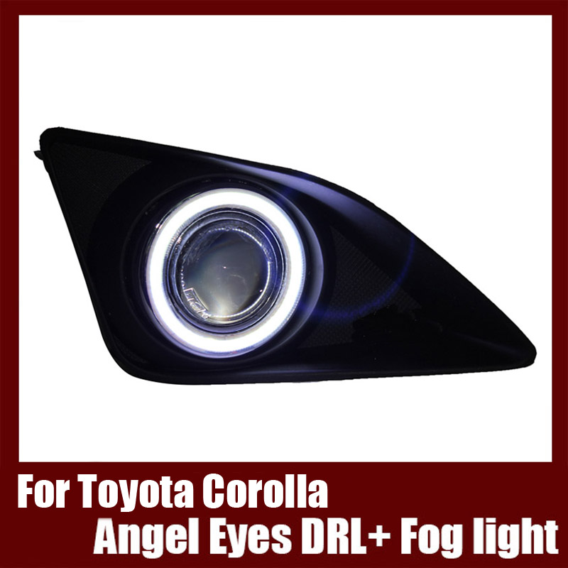 For Toyota Corolla  2007-2010  COB Angel Eyes DRL with Fog lights Projector Lens Lamp Bumper Cover brand new superb led cob angel eyes hid lamp projector lens foglights for toyota corolla ex 2013
