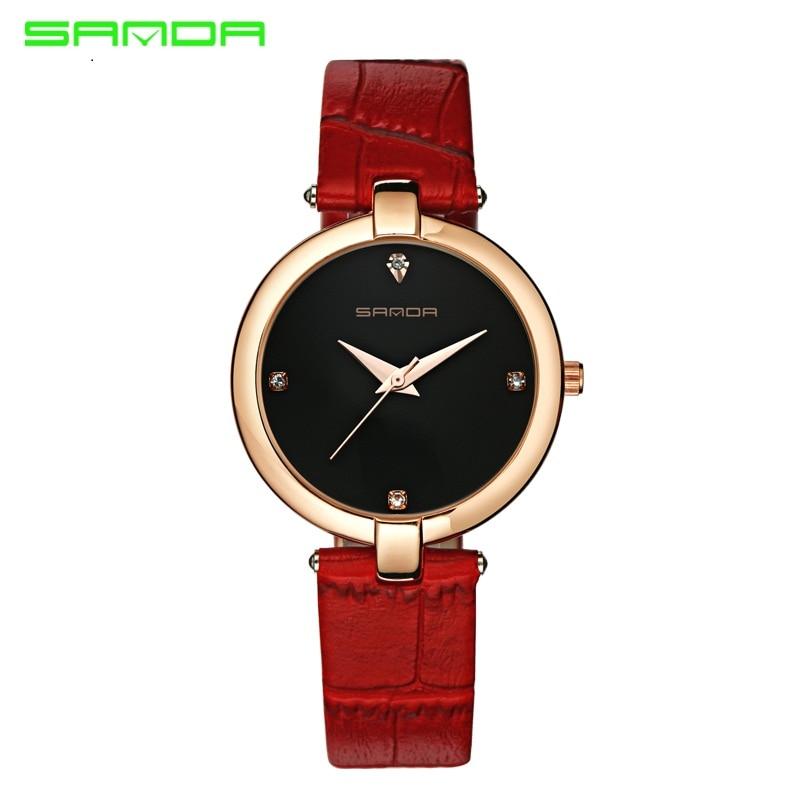 Women's Fashion Casual Luxury Watch High Quality Leather Women's Quartz Watch Waterproof Watch Bracelet Ms. sanda196 2017 high quaitily casual fashion 014