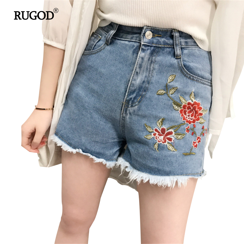 2017 New Summer Fashion Style Shorts Jeans Embroidery Pattern Appliques Roses Tassel Loose Straight High Waist Jeans For Women