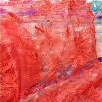 2017 High Quality 3d French Lace With Pearls Pretty Nigerian Lace Fabric Pearls Lace Fabric African