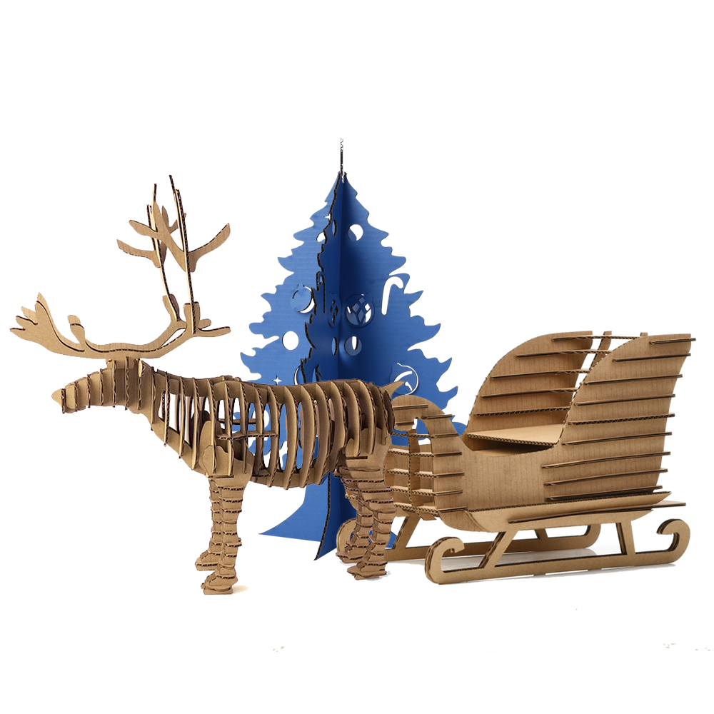 Decoration DIY Craft Kids Toys 3D jigsaw Puzzle Reindeer Snow sledge Ornaments Xmas Gift Elk And Trees