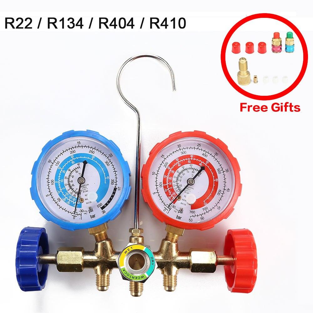 R22 / R134 / R404 / R410 Air Conditioning Manifold Gauge Current Divider Meter Set Air Condition Refrigeration
