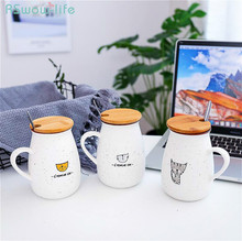 Cute Cat Babysbreath Creative Porcelain Cup With Lid And Spoon Mug Student Home Office Travel Eco-Friendly Coffee Milk Water