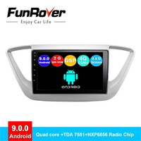 FUNROVER android 9.0 2 din car dvd player For Hyundai Solaris Verna Accent 2017 2018 car radio multimedia stereo gps navigation
