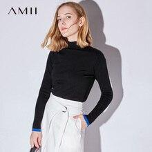 Amii Повседневное Для женщин свитер 2018 с длинными рукавами в стиле пэчворк женские пуловеры; свитеры