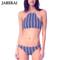 JABERAI Sexy Swimwear Women Crop Top Bikini Set 2018 Hot High Neck Swimsuit Bandage Print Retro