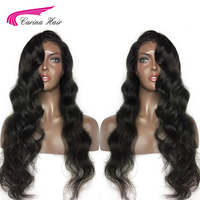 Carina Indian Hair Body Wave Lace Front Human Hair Wigs with Baby Hair Remy Hair Glueless Wigs Free Part Pre Plucked Hairline