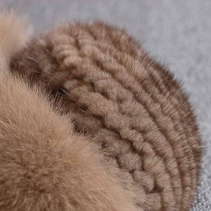 Réel vison fourrure femme chapeau renard fourrure beanie casquettes hiver femme chapeaux mode vison fourrure tricot chapeau - 4