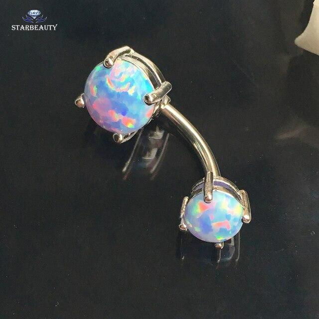 Lớn Opal Xuyên Rốn Xuyên Ombligo Nữ Dễ Thương Trắng Bijou Bụng Xuyên Nombril Opal Bụng Nhẫn Pircing Trang Sức