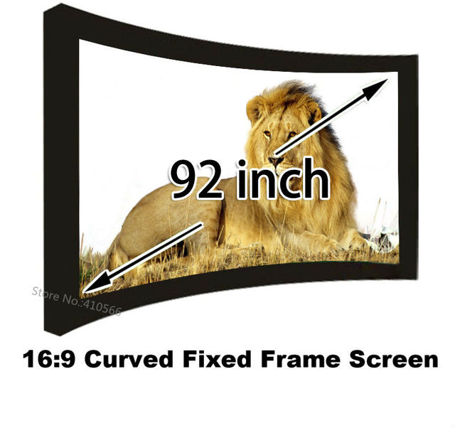 Outstanding Picture Quality Curved Fixed Frame Projection Screen 92 Diagonal 3D Cinema Screens 169 HD Ready