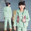 2016 Winter Baby Girls Clothes Sets Children Cashmere Coat+Vest+Pants Kids Warm Outerwear Suits Butterfly Clothes GH283