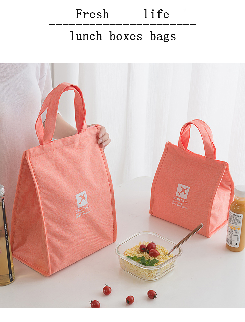 Portable Insulated Canvas lunch Bag Thermal Picnic Lunch Bags for Women kids Men Cooler Lunch Box Bag