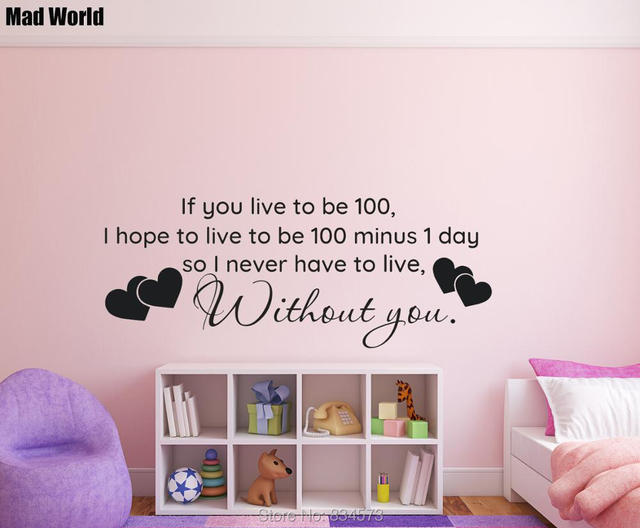 Aliexpresscom Buy Mad World Live To Be 100 Without You Quote Wall