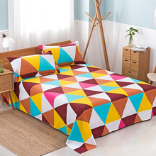 Geometric Pattern Bed Sheet Polyester Cotton Flat Colored Mattress Cover Twin Full Queen King