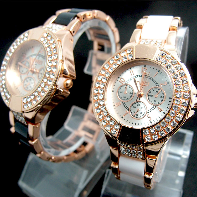 Quartz Wristwatches Imitation-Ceramics Rose-Gold Fashion Ladies TW036 1pcs Crystal-Dress
