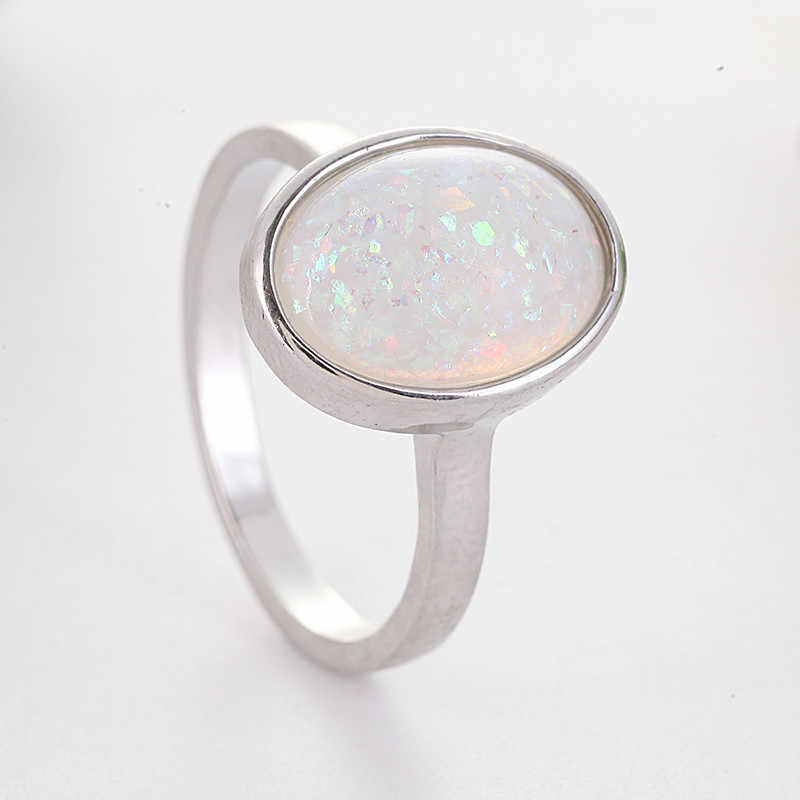 Elegant Oval Large Opal Stone Knuckle Finger Midi Rings Fashion Jewelry Simple Moonstone Silver Color Rings for Women Z5J397