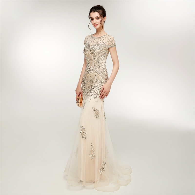 Mermaid Evening Dress Champagne 2019 New Elegant Scoop Short Sleeve Formal Gowns Prom Beading Crystal Tull vestido de festa