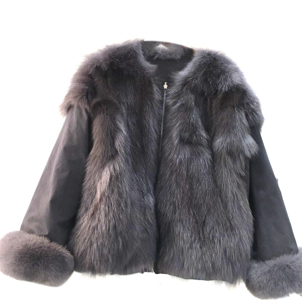 2017 Both sides wear new natural real fox fur coat winter jacket women parka loose bomber jacket outerwear thick warm фил коллинз phil collins both sides 2 lp