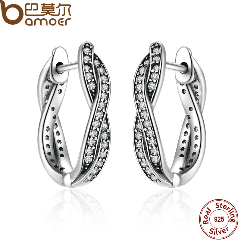 BAMOER Authentic 925 Sterling Silver Twist Of Fate Stud Earrings Clear CZ for Women Wedding Trendy Jewelry PAS465 pair of stylish rhinestone alloy stud earrings for women