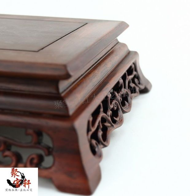 Solid wood carving handicraft furnishing articles mahogany base vase flowerpot household act the role ofing is tasted