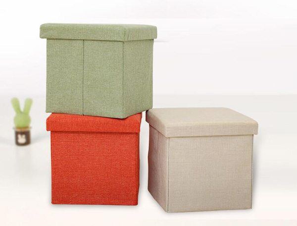 D30XH30CM Fabric Stool Ottoman With Storage Square Home Stool Footstool Footrest Home Furniture Folding And Collapsible