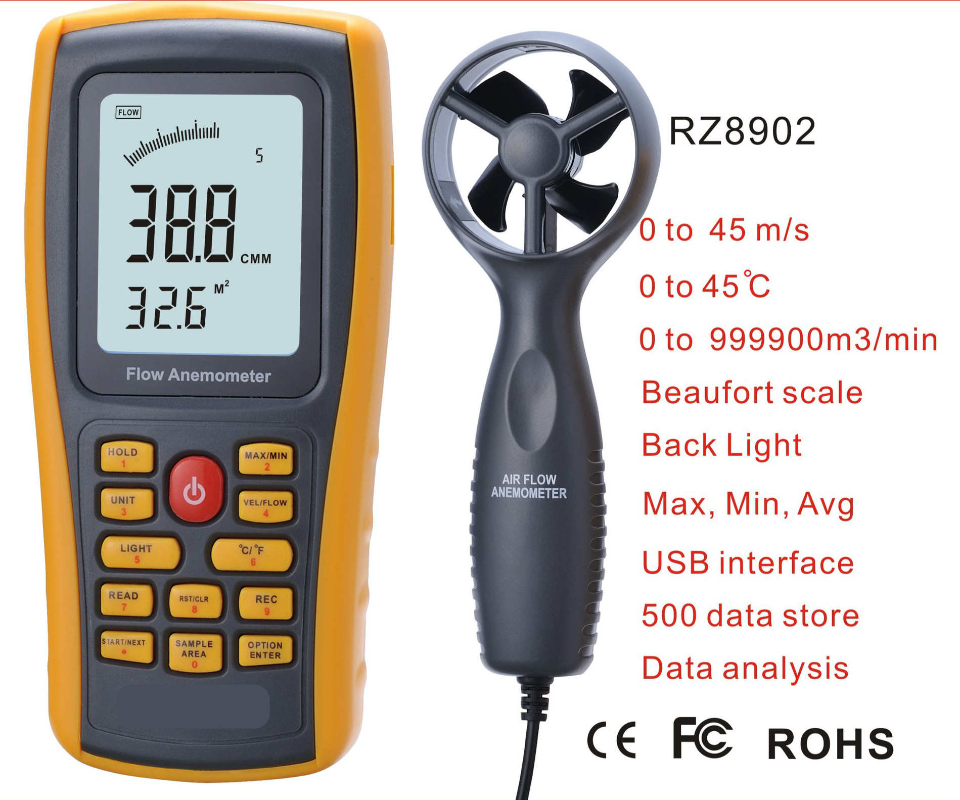 GM8902 Digital Anemometer Wind Speed Tester 0.3~45m/s Air Flow Tester Temperature Monitor with USB handheld Interface digital indoor air quality carbon dioxide meter temperature rh humidity twa stel display 99 points made in taiwan co2 monitor